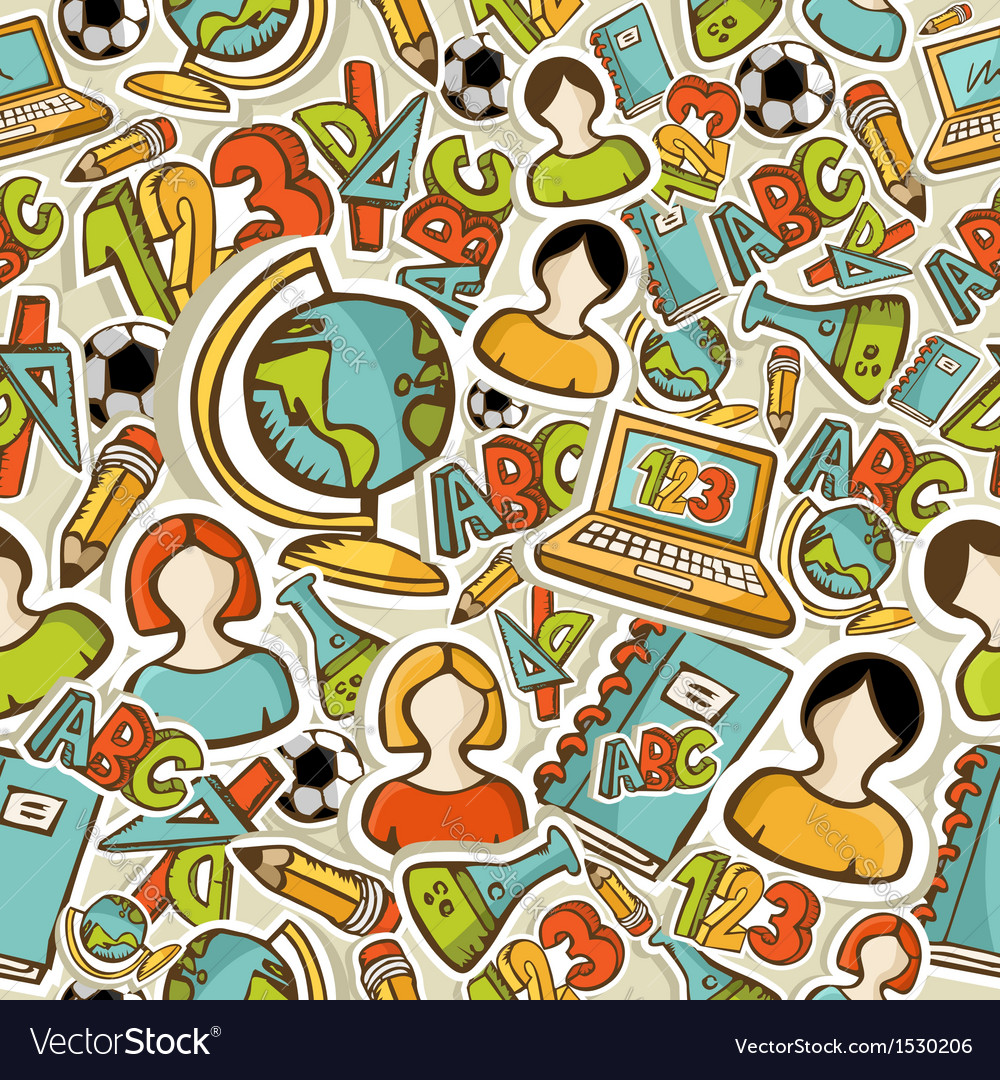 Back to School colorful icons education seamless vector image