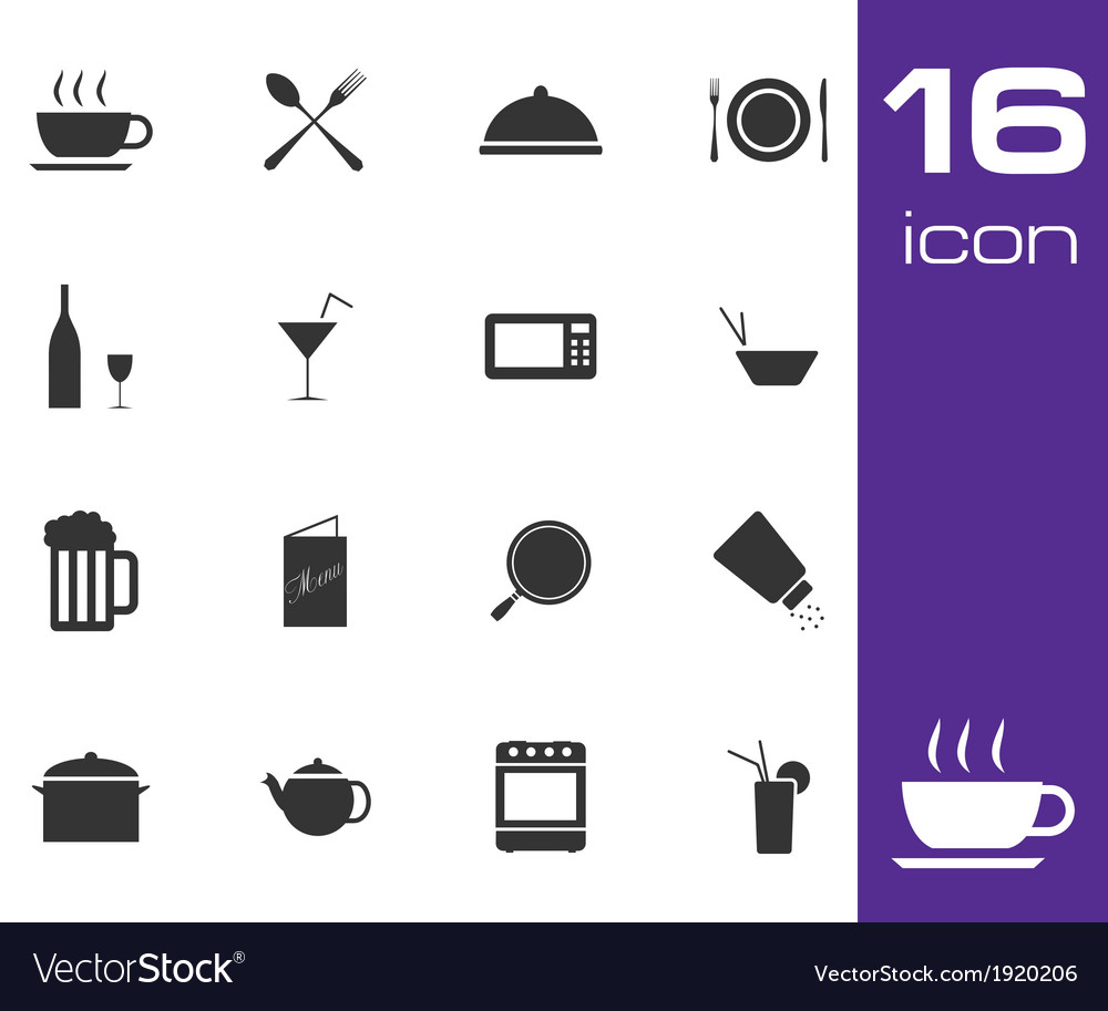 Black food icon set on white background vector image