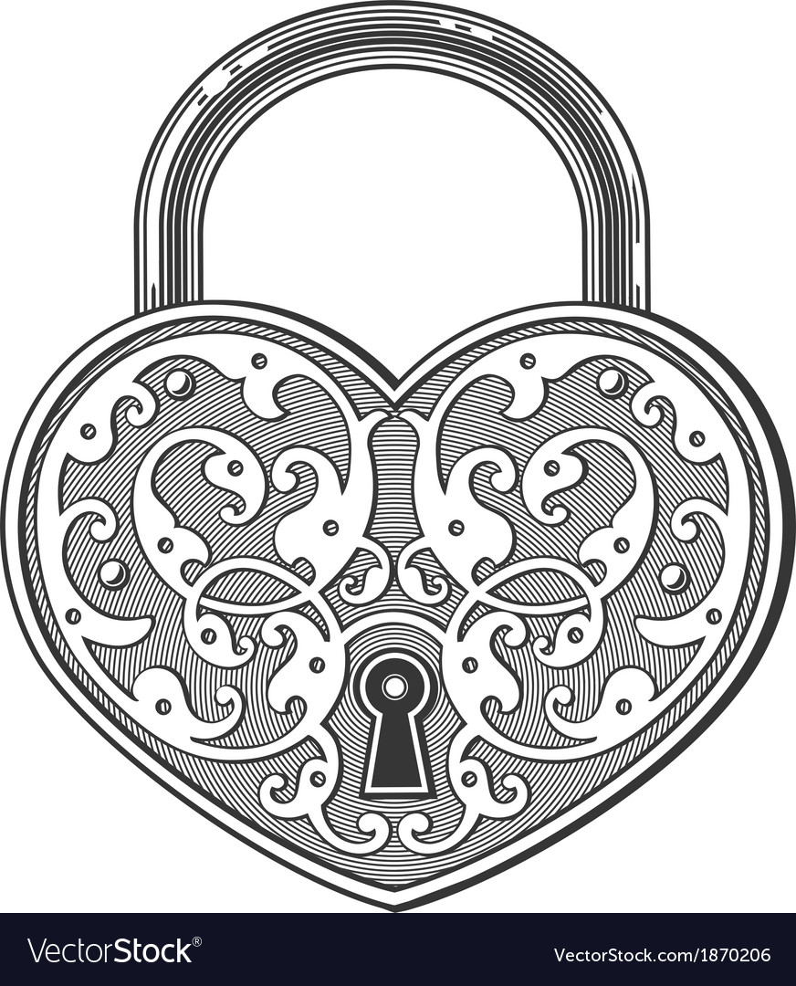Heart shaped padlock in vintage engraved style vector image