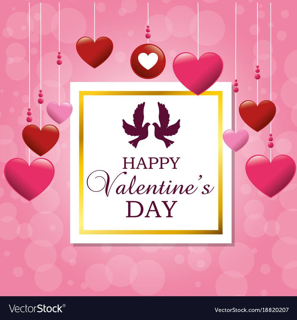Happy valentines card with cute bird couple in vector image kristyandbryce Images