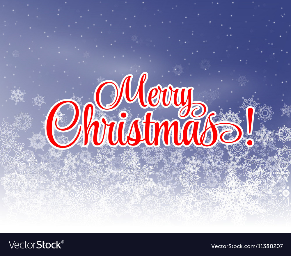 Merry christmas letters covered with snow on snowy merry christmas letters covered with snow on snowy vector image madrichimfo Images