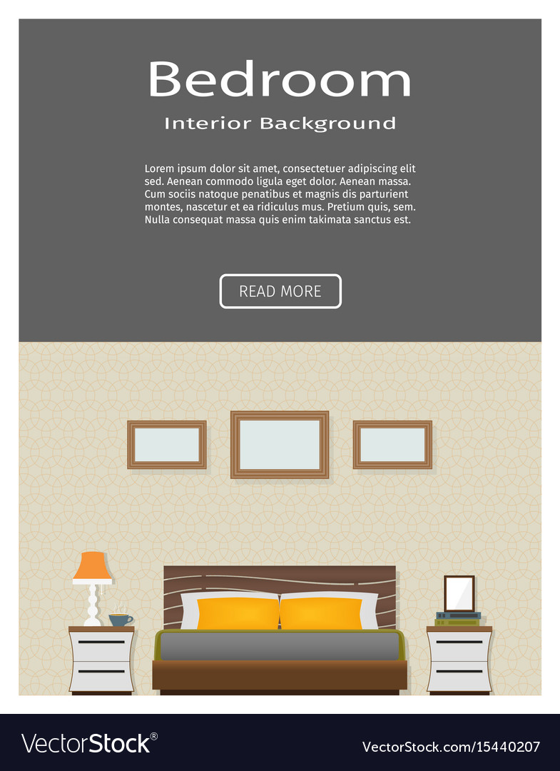 Web banner of modern bedroom interior with vector image