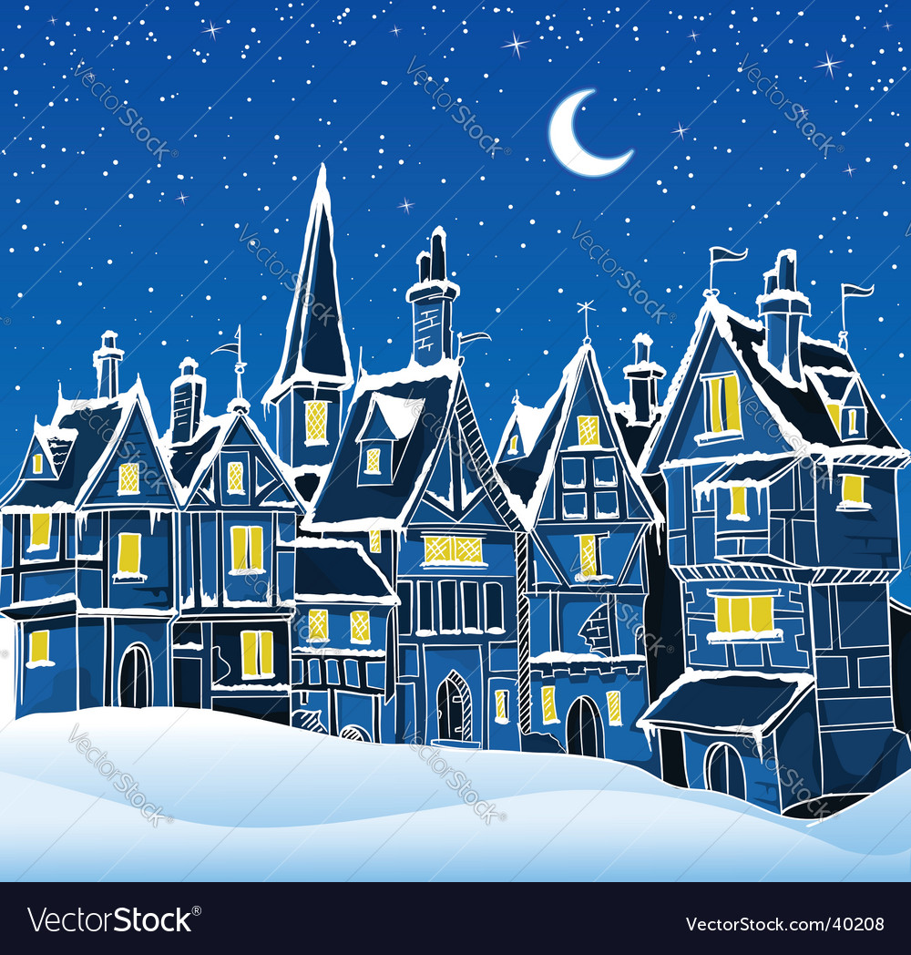 Christmas snow scene Royalty Free Vector Image