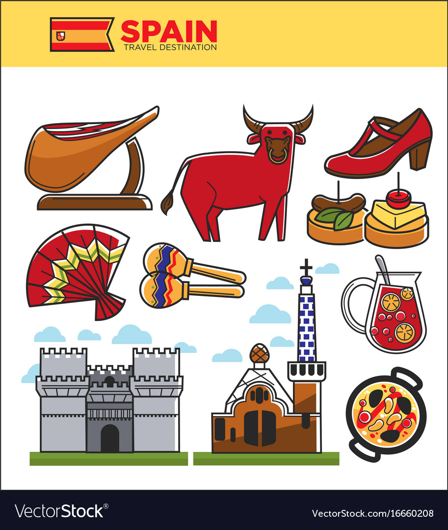 Spain travel famous landmark symbols and spanish vector image