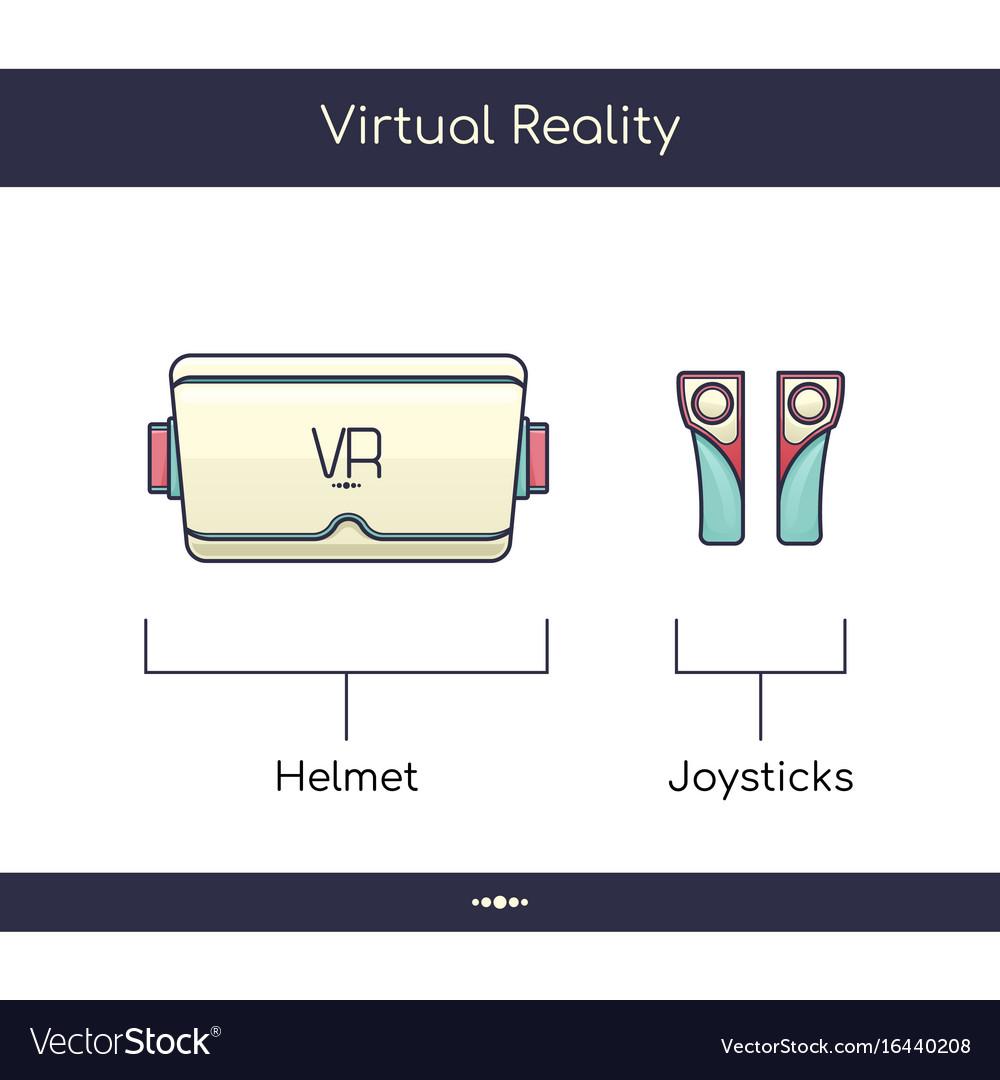 Virtual reality helmet three vector image