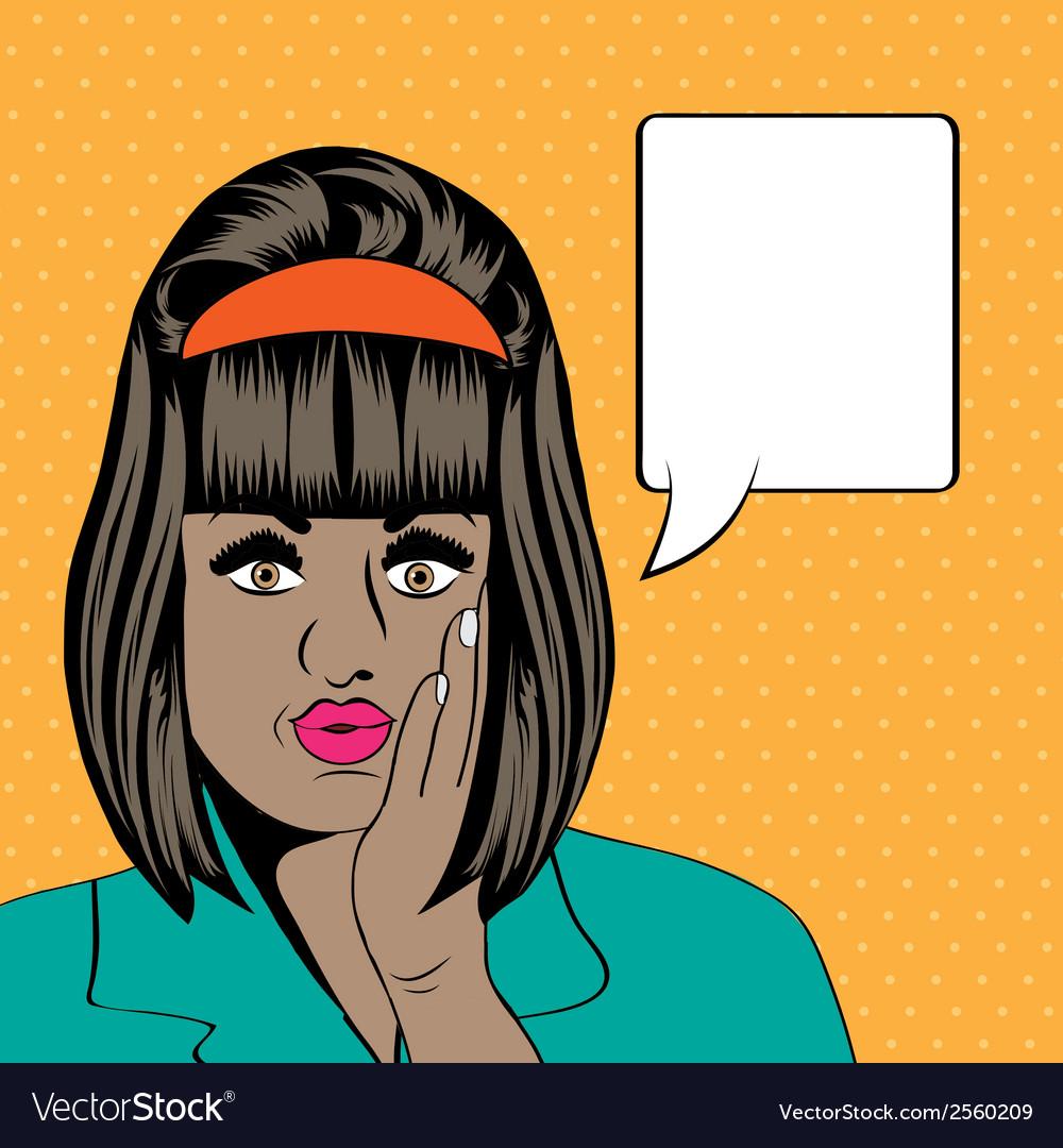 Cute retro black woman in comics style vector image