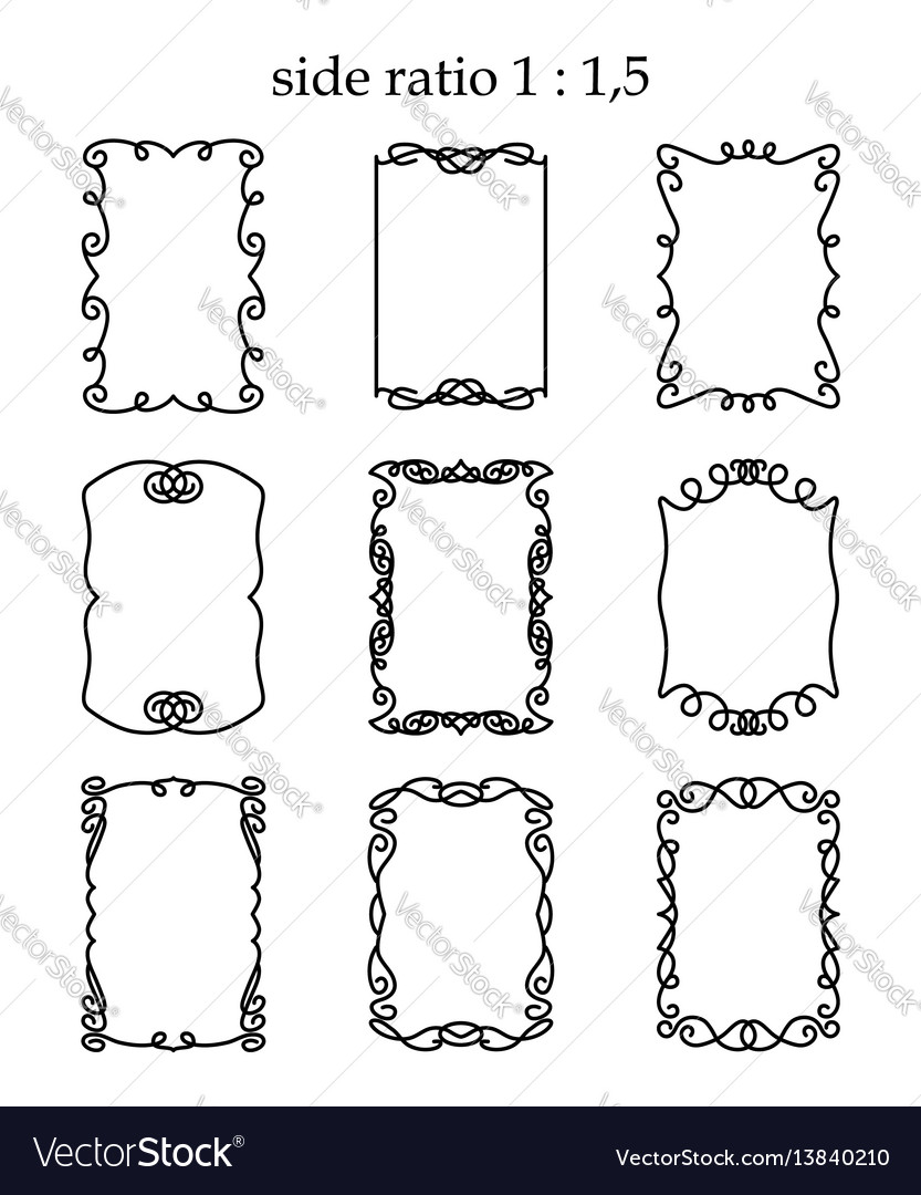 Set of rectangular outline frames isolated vector image