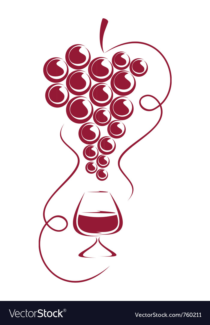 Grapes and wine glass vector image