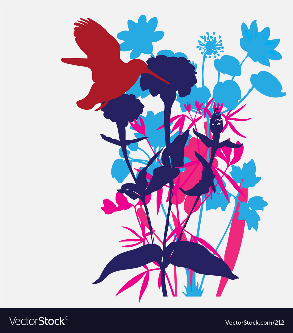 Designer flowers with tropical bird vector image