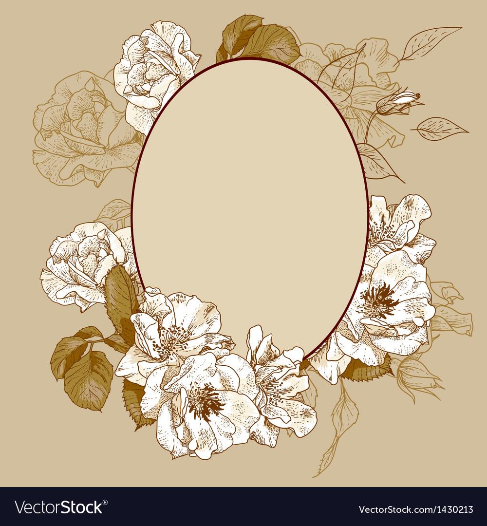 vintage frame design oval. Vintage Roses Oval Frame Vector Image Design A