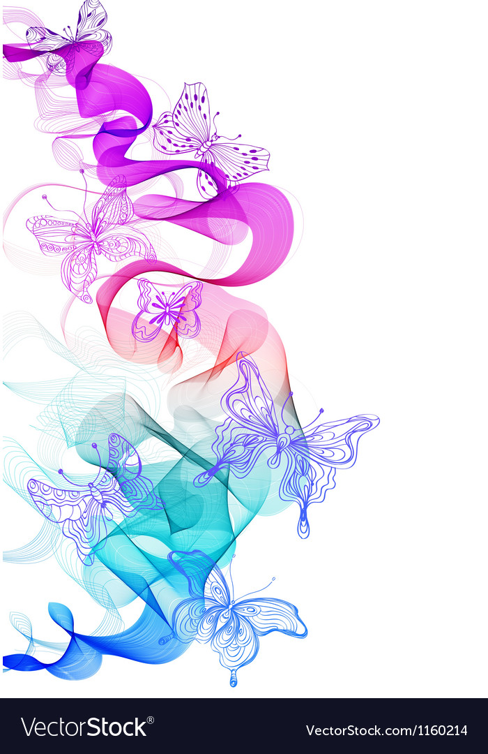 Abstract wave with butterfly vector image
