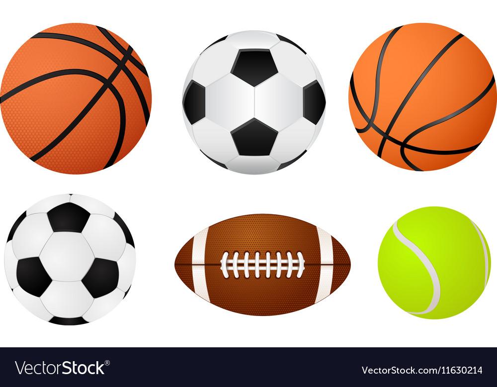 Basketball ball soccer ball tennis ball and vector image