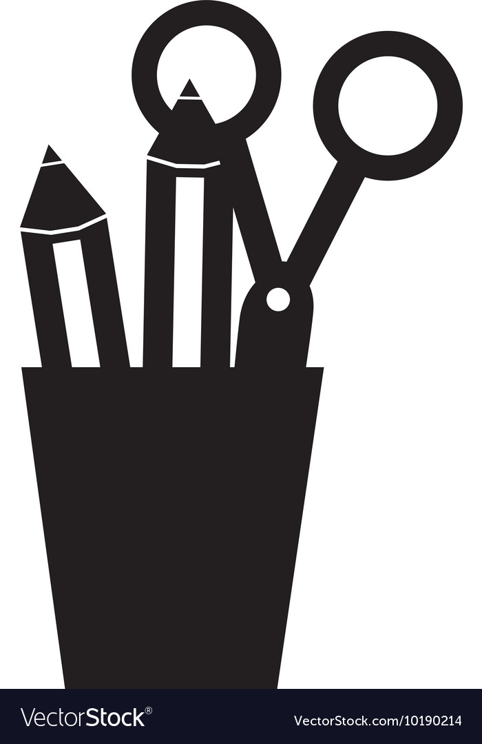 cup holder stationary office supplies icon vector image