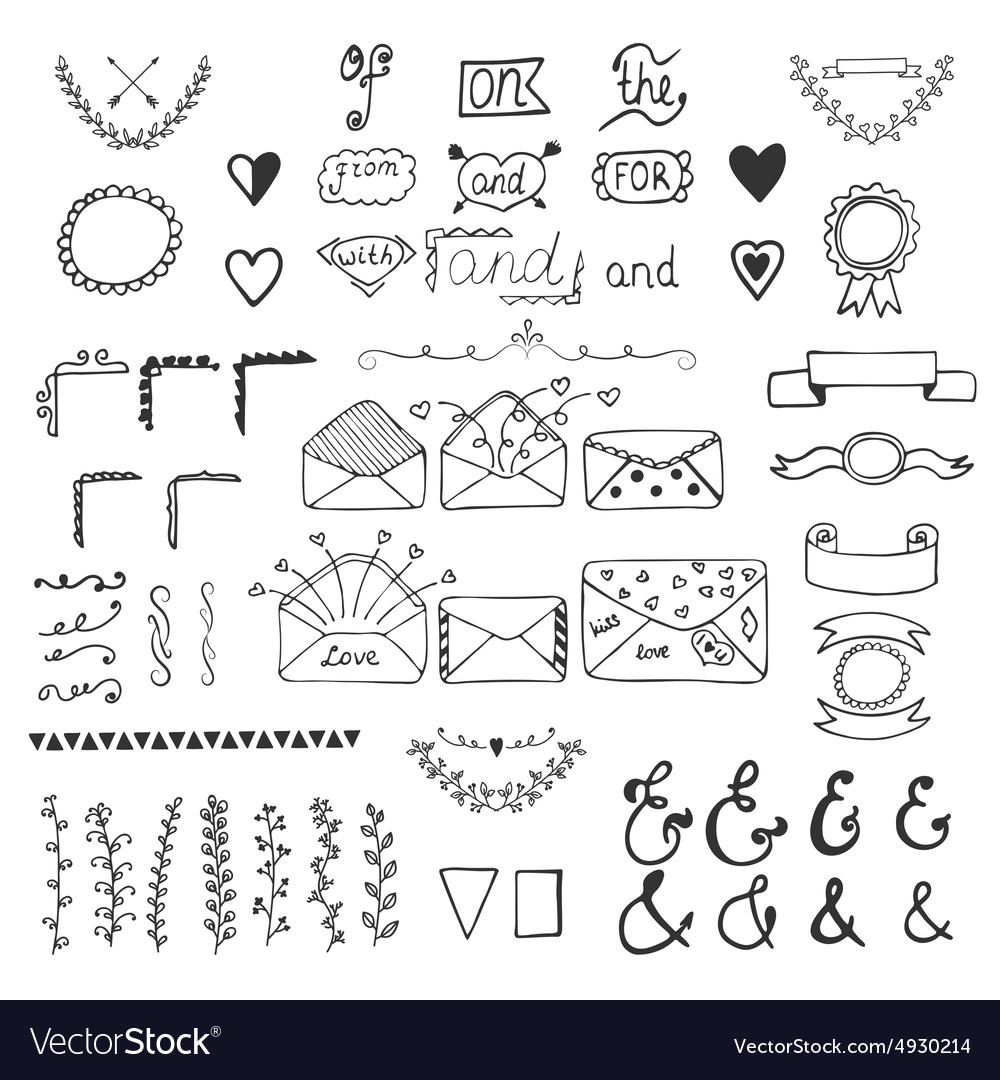 Handsketched design elements Hand drawn ampersands vector image