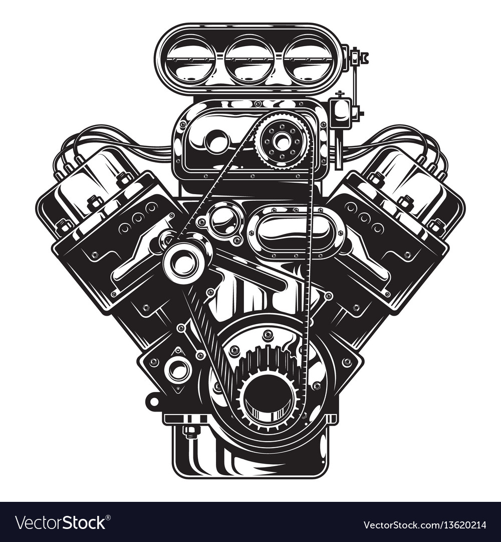 Isolated monochrome of car engine Royalty Free Vector Image