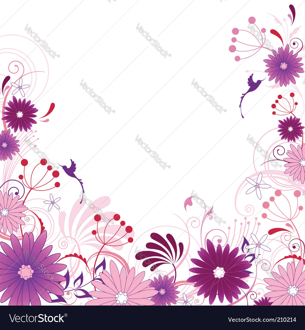 Violet floral background with ornament vector image