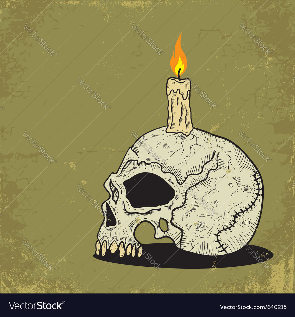 Skull with candle vector image