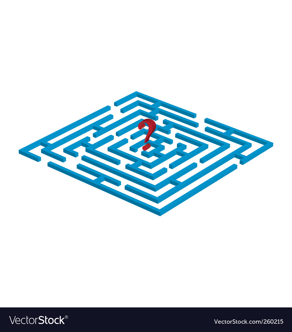 Labyrinth with question mark vector image