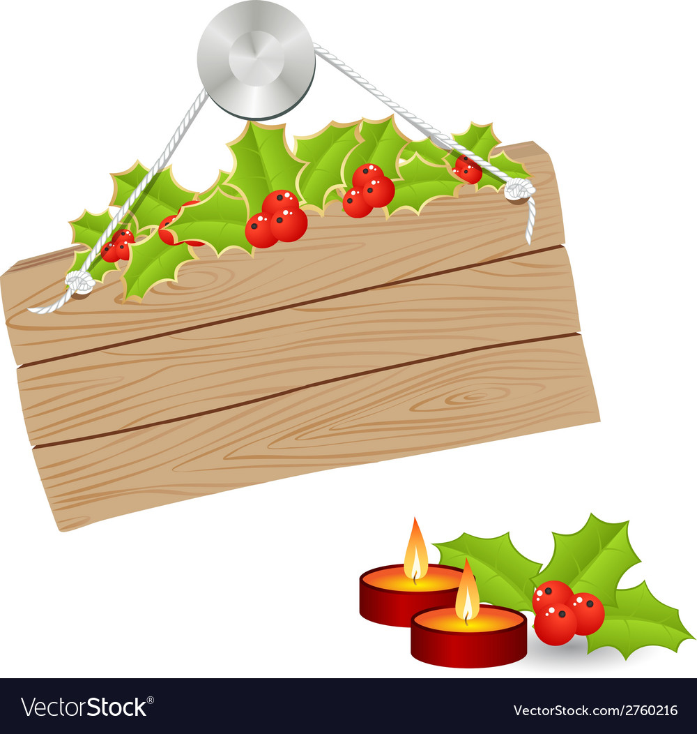 Wooden sign christmas 02 vector image
