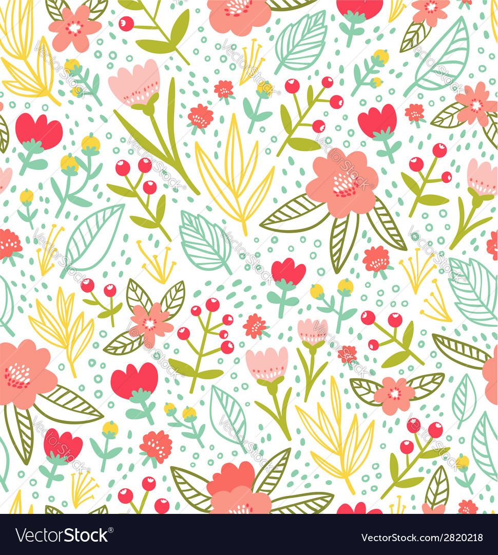 Fun floral repeat pattern vector image