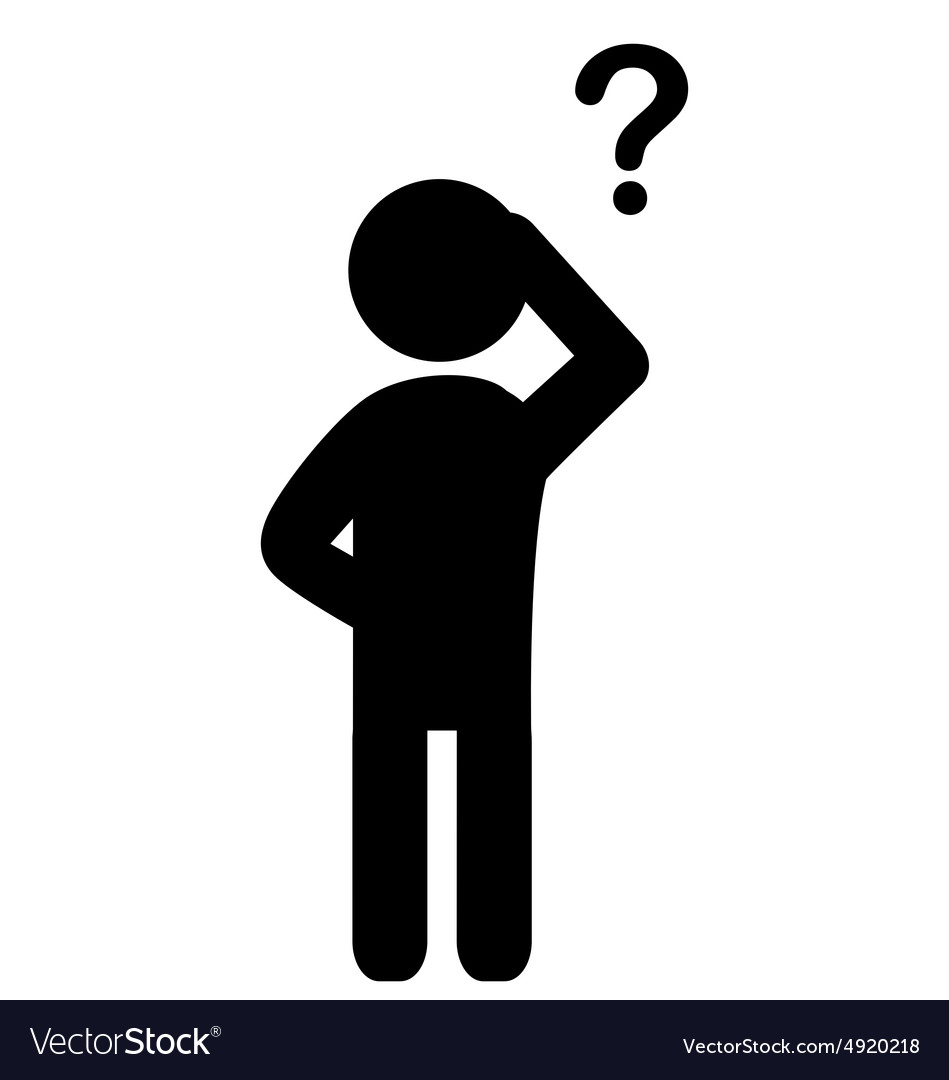 Man with question mark flat icon pictogram vector image