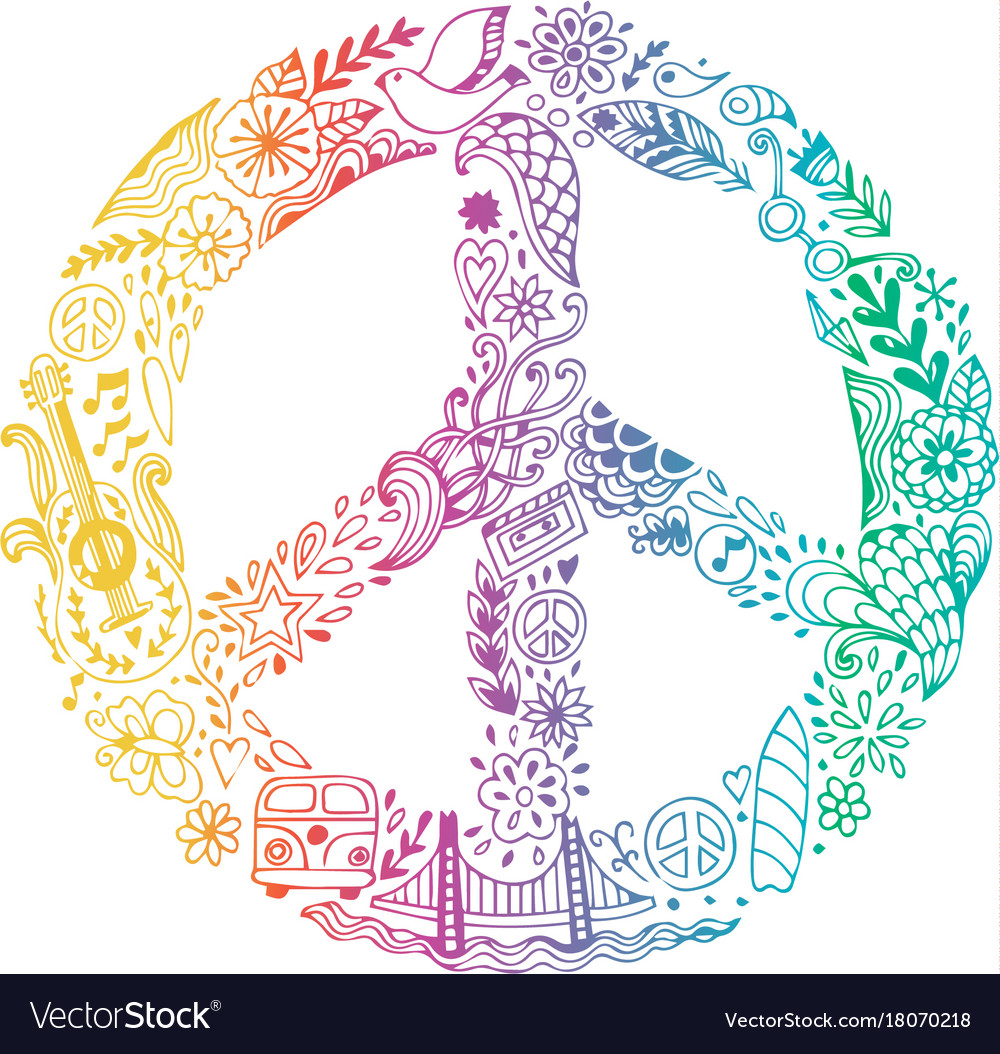 Peace symbol made of hippie theme doodle vector image biocorpaavc Images