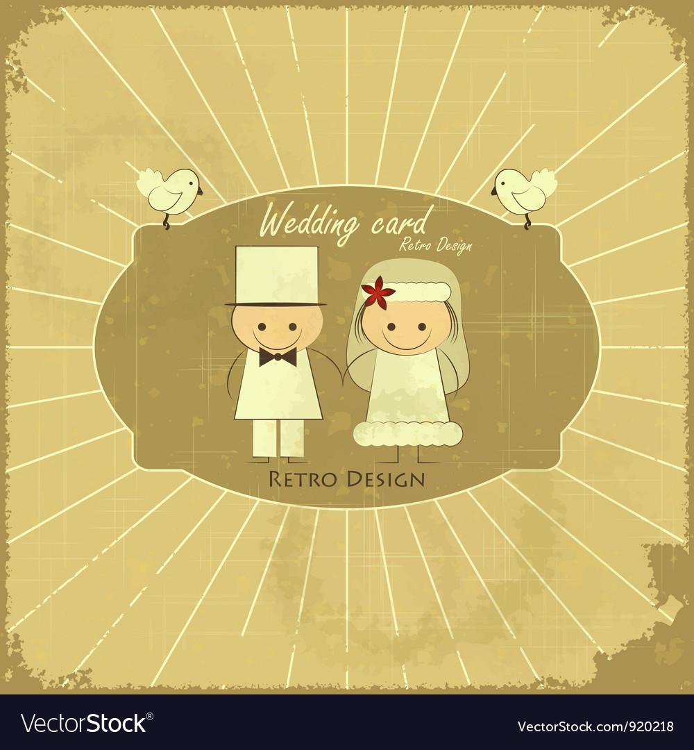 Retro Design Wedding Card vector image