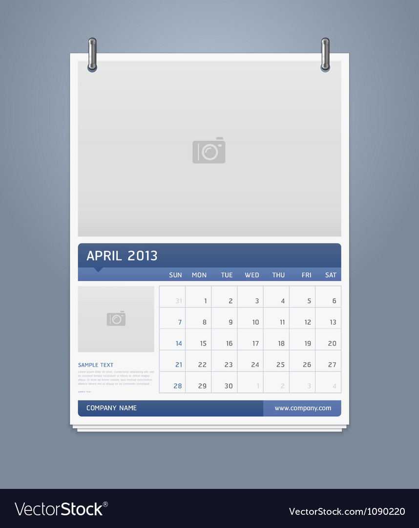 Clean calendar 2013 template design Royalty Free Vector