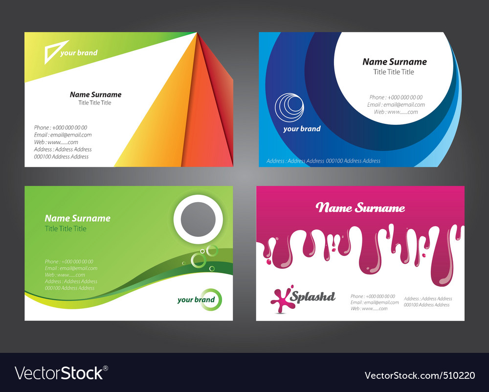 Modern colorful business card designs Royalty Free Vector