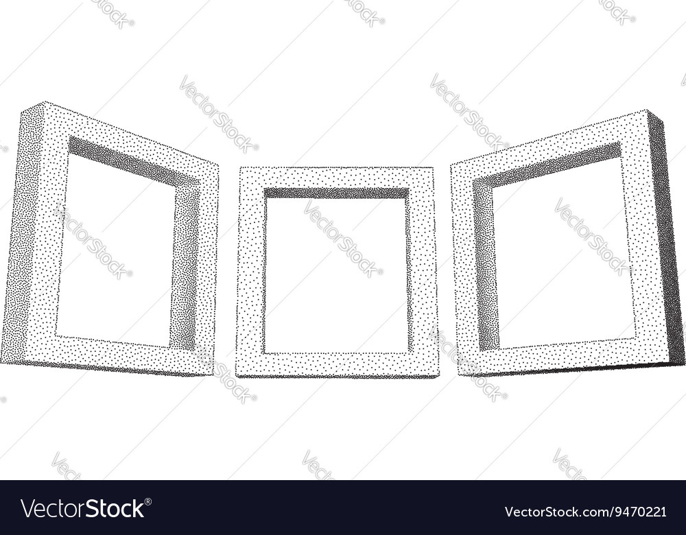 Vintage rectangular frames with dotwork gradient Vector Image
