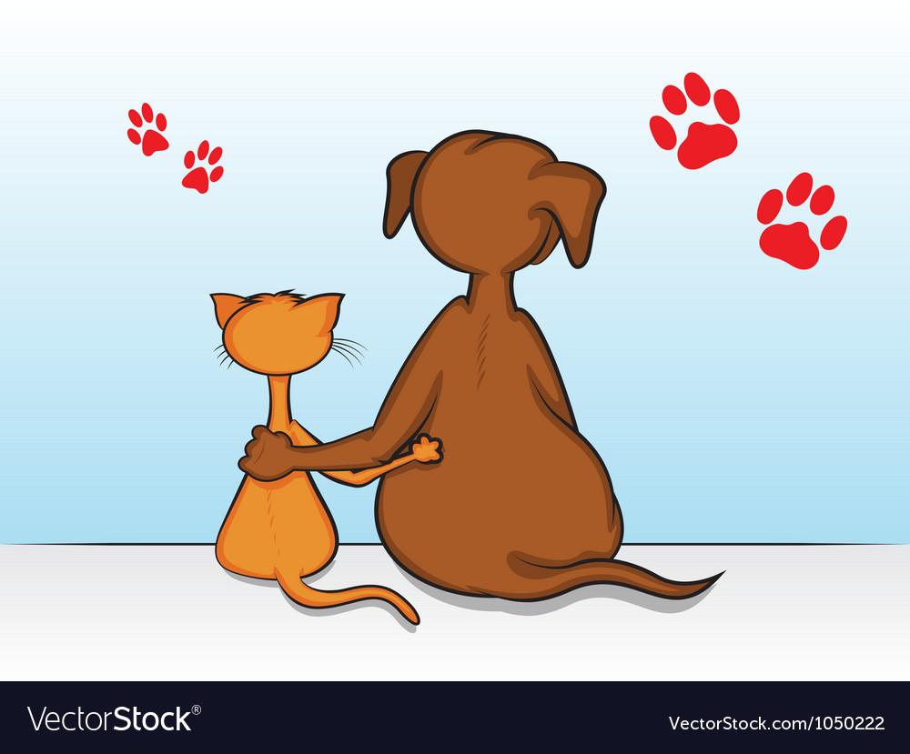 Cat Dog Friends Vector Image