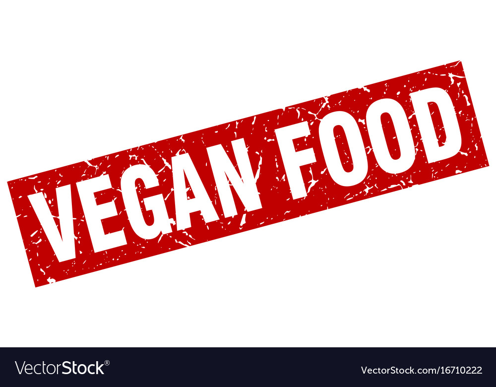 Square grunge red vegan food stamp vector image