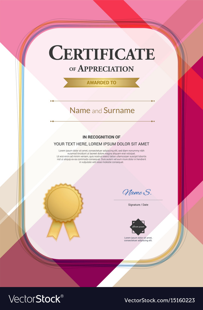 Portrait modern certificate of appreciation vector image yadclub Image collections