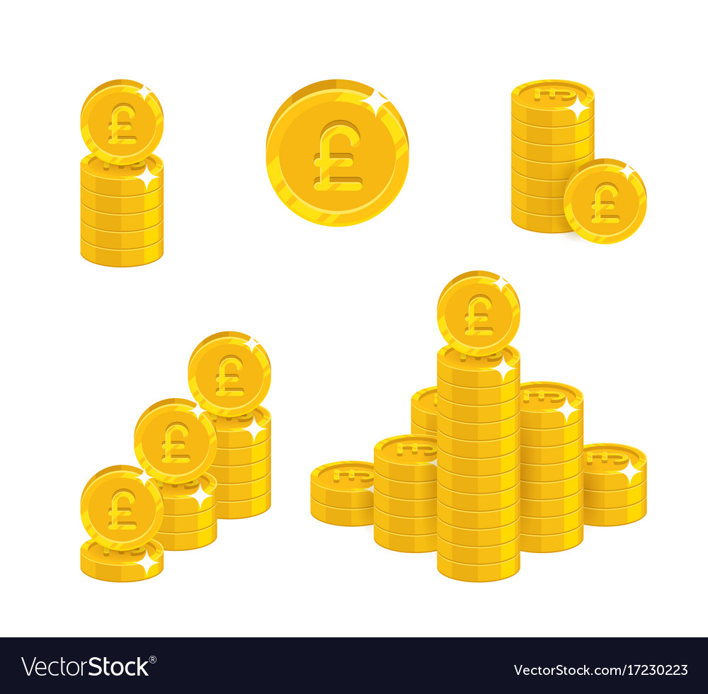 Pound coin heaps vector image