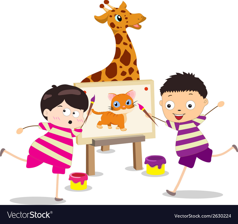 cartoon kids with painting canvas vector image - Cartoon Painting For Kids