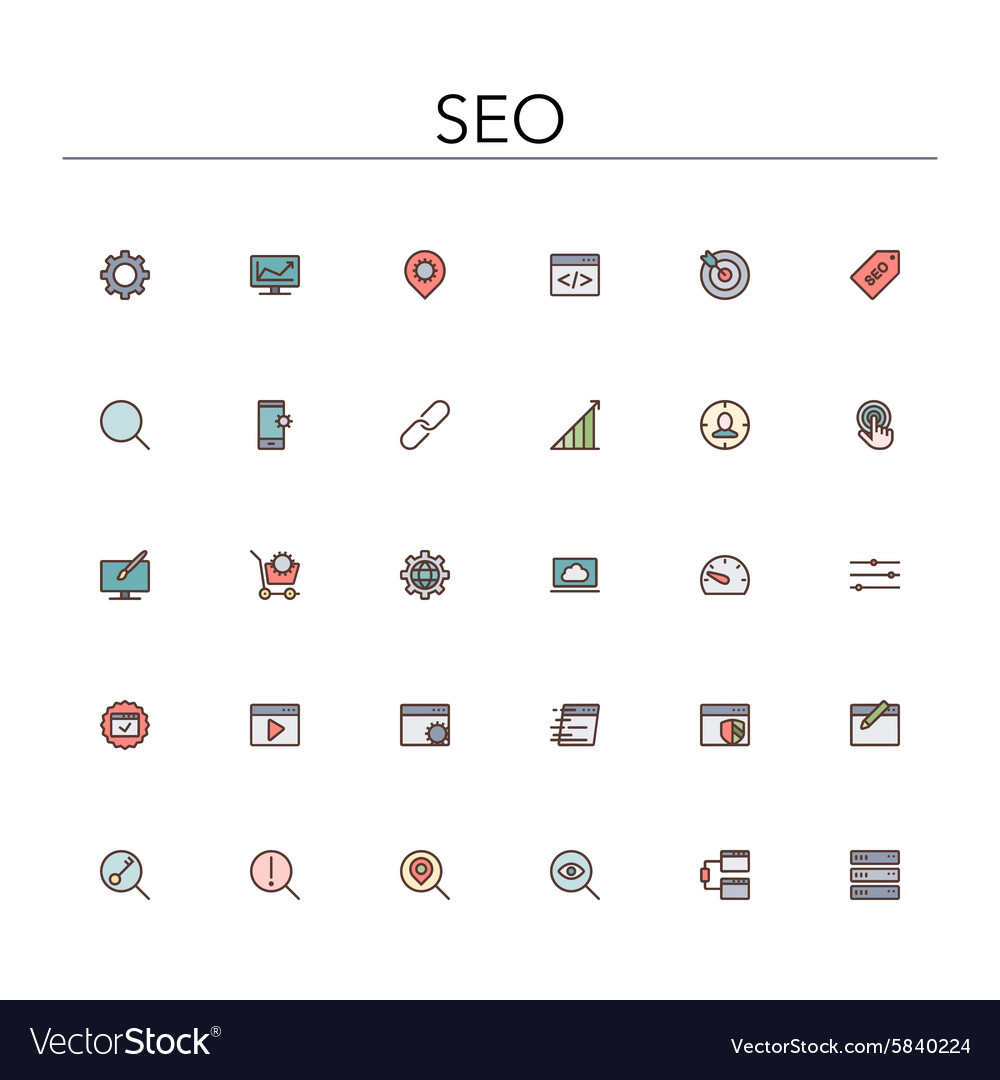 SEO Colored Line Icons vector image