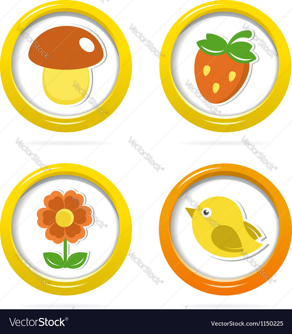 Summer icons in colorful bubbles vector image