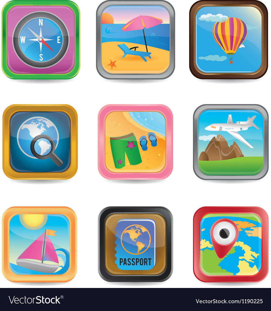 Set of app travel buttons Vector Image
