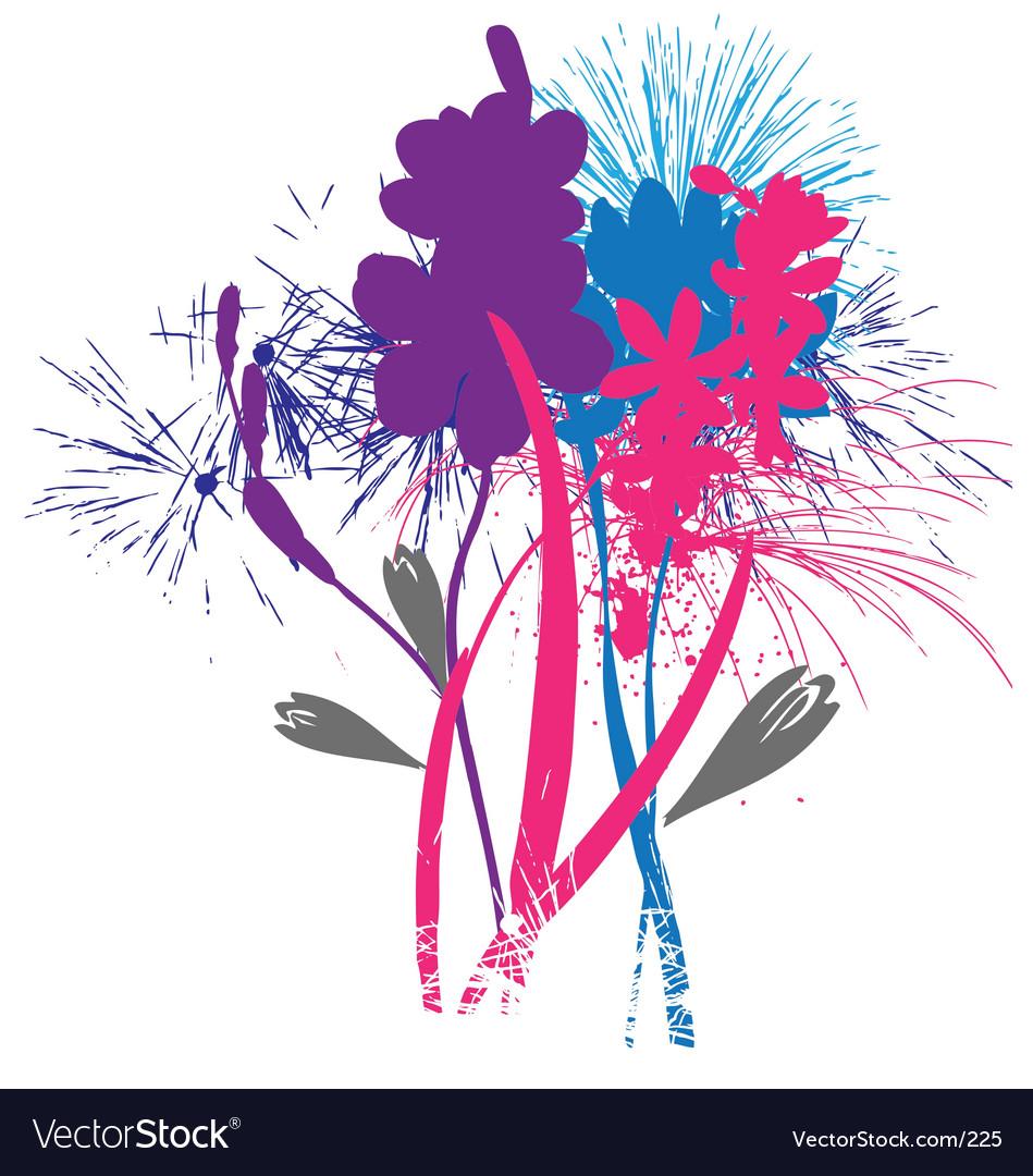 Flowers like fireworks vector image