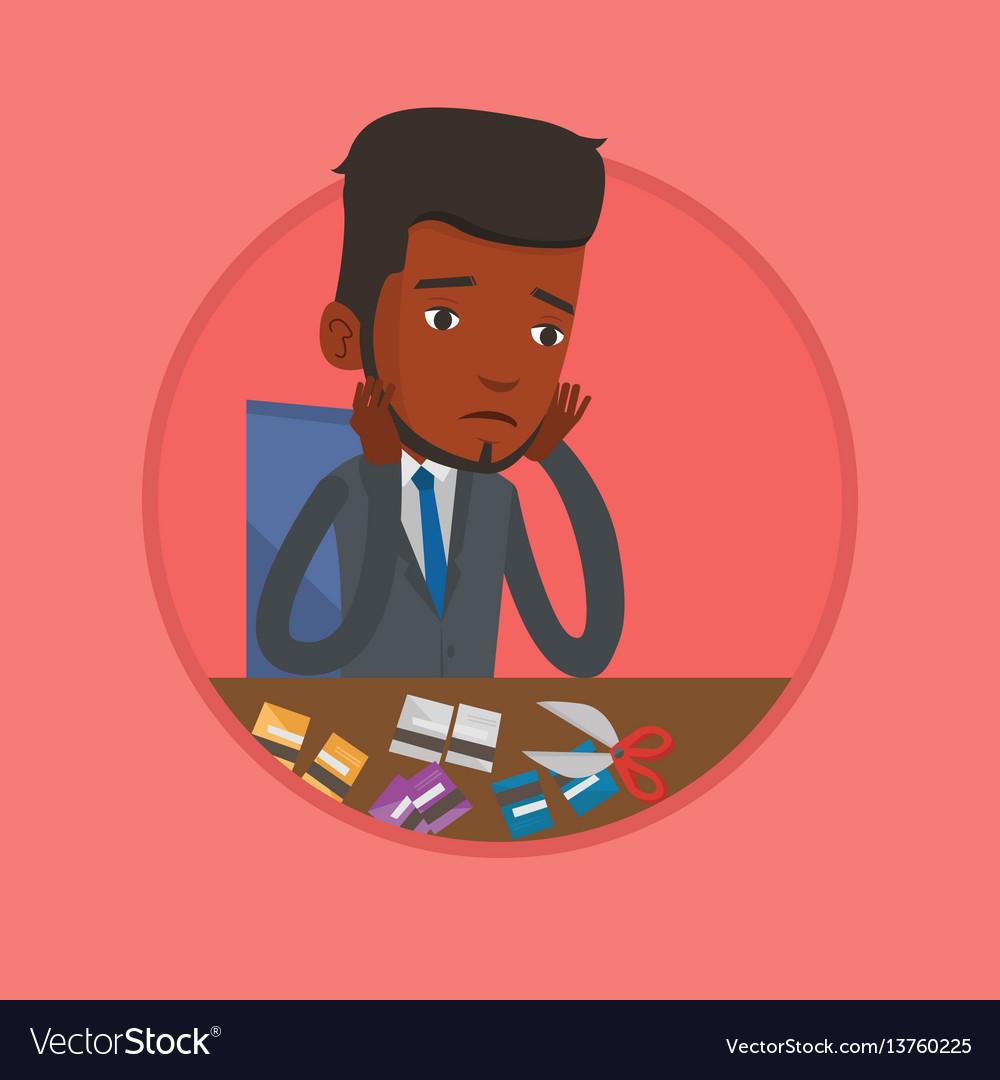 Businessman bankrupt cutting his credit card vector image