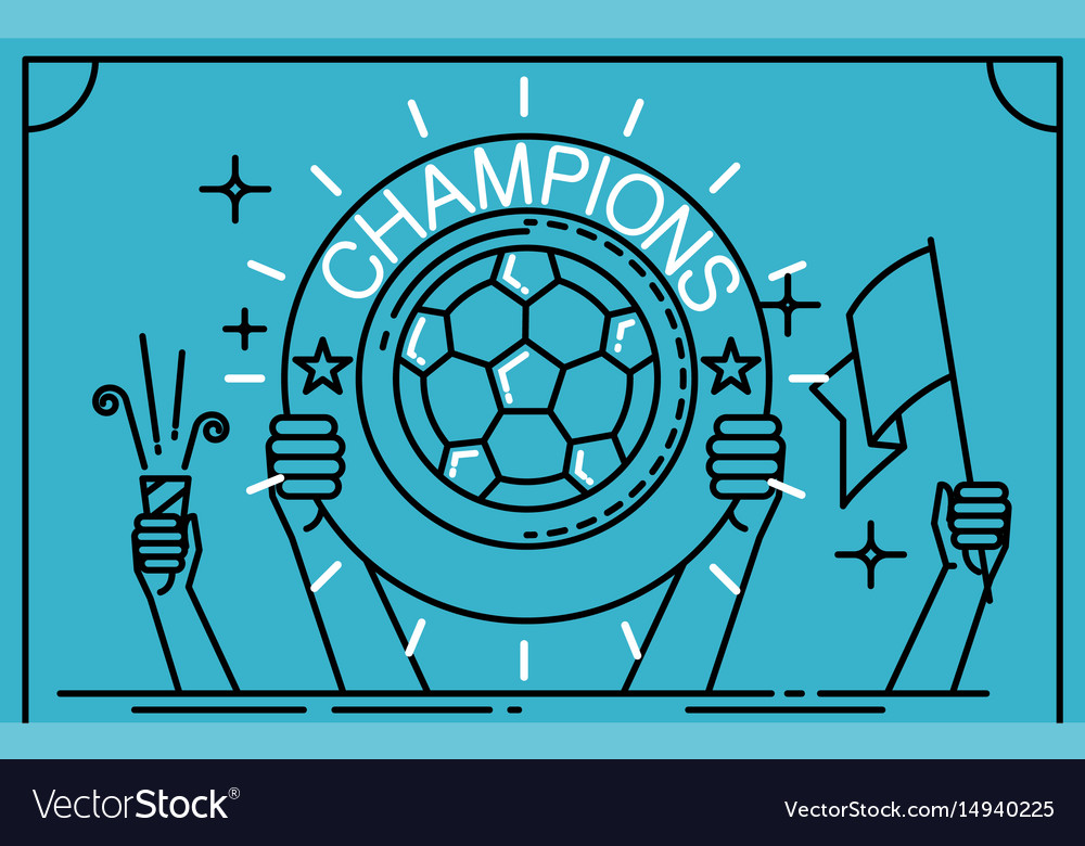 Football soccer player holding up a trophy as a vector image