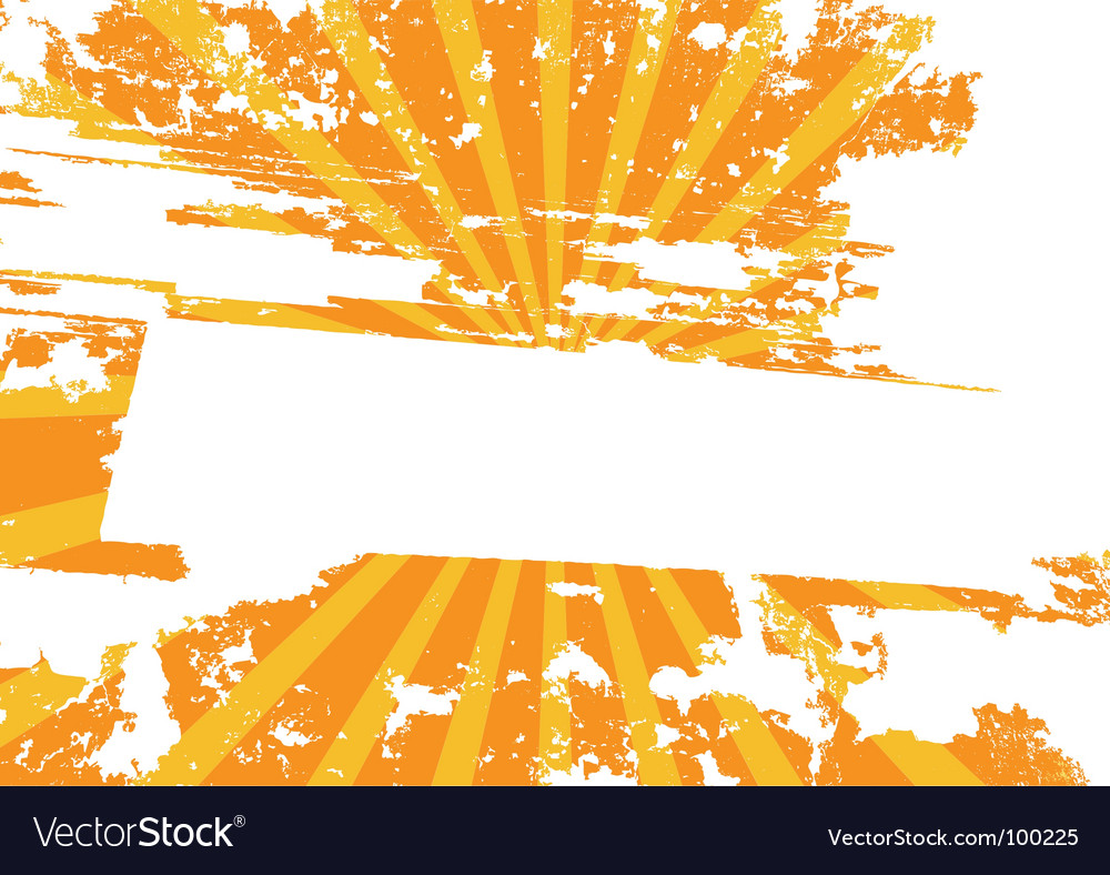 Yellow grunge background with rays vector image