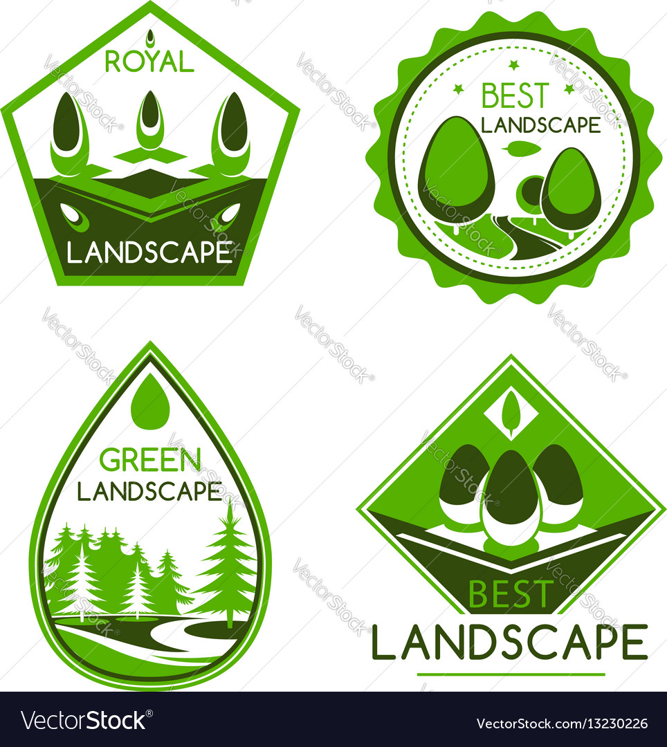 Landscape design icons or emblems set royalty free vector for Landscape design icons