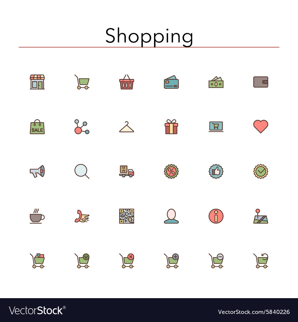 Shopping Colored Line Icons vector image