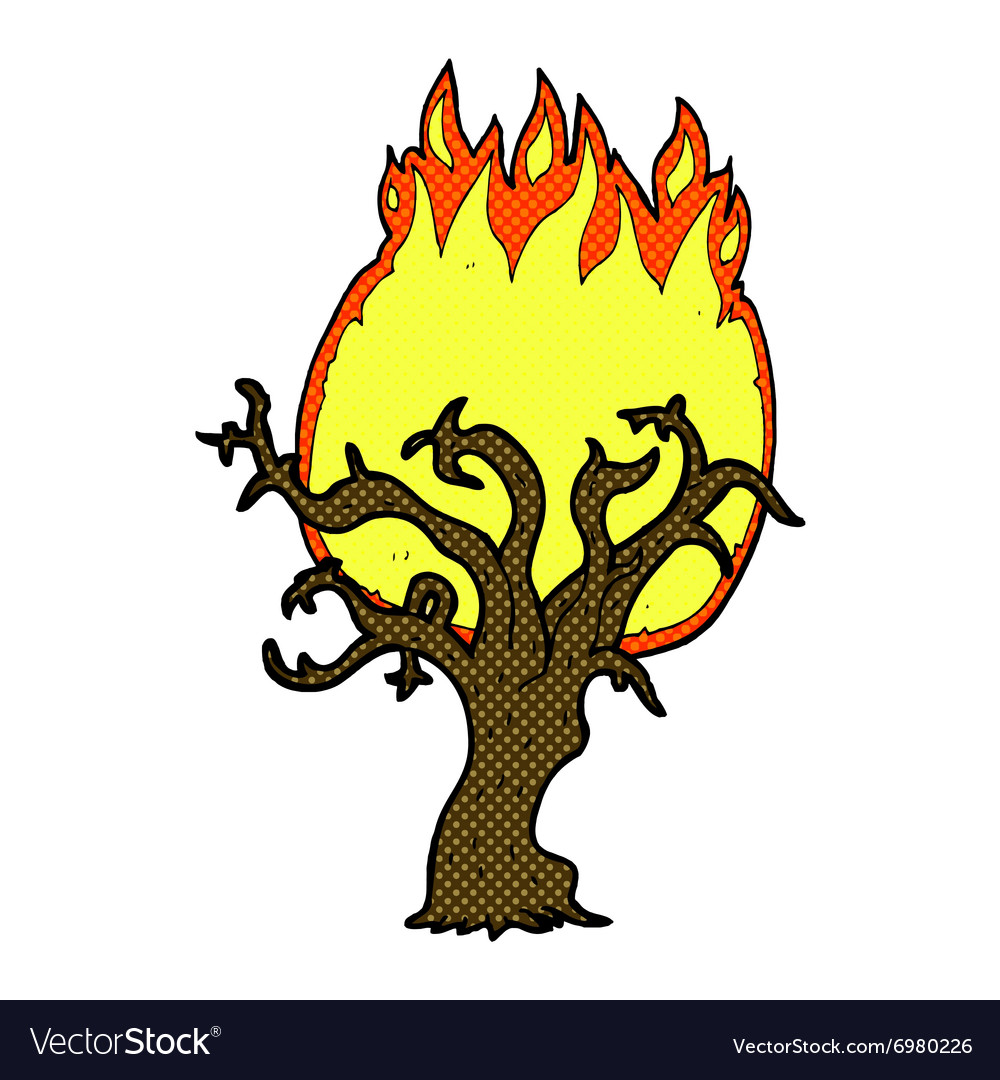 Comic cartoon winter tree on fire vector image
