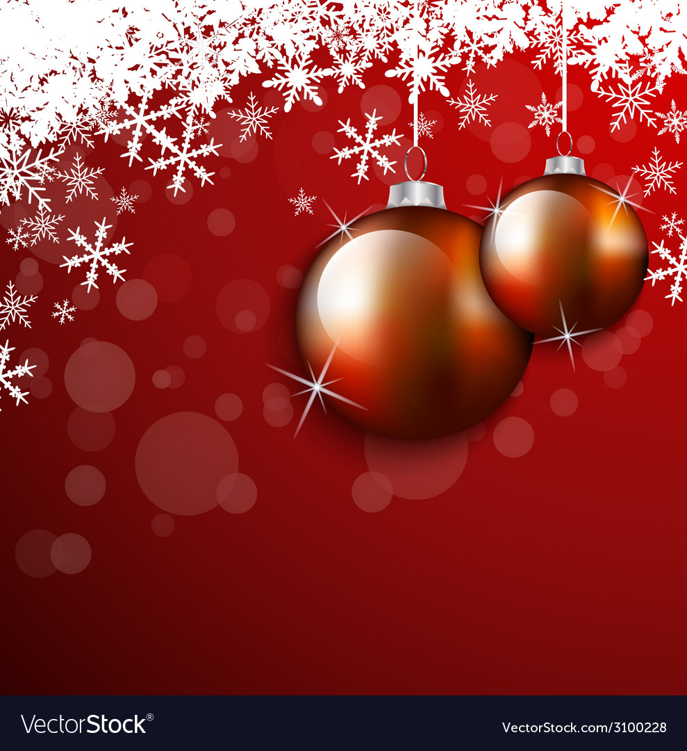 Christmas hanging balls and snowflake card vector image