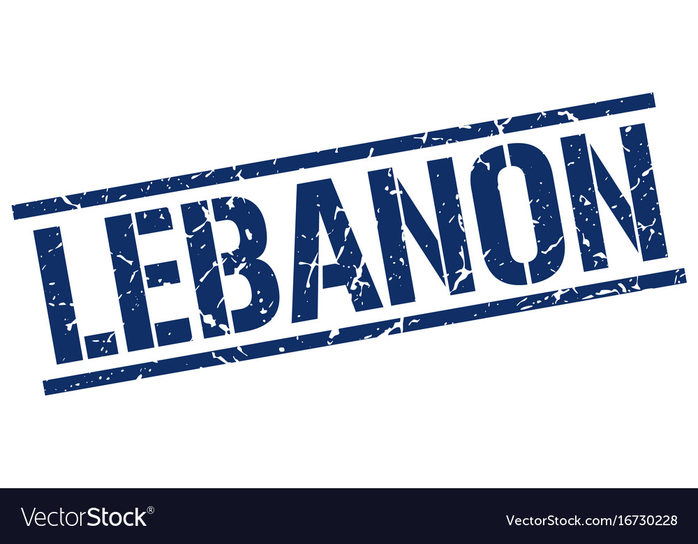 Lebanon blue square stamp vector image