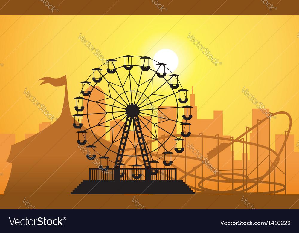 City and amusement park vector image