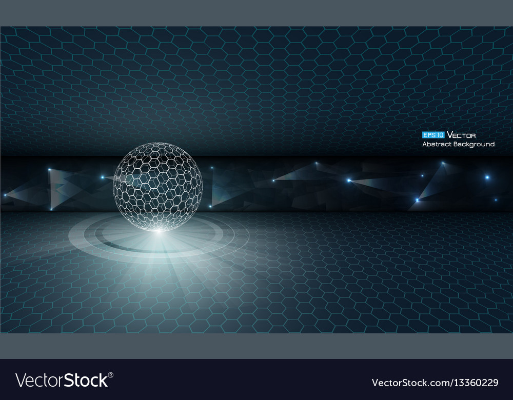 Sphere with glow and stars vector image