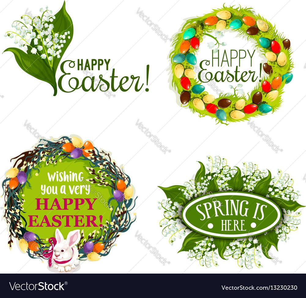 Easter spring holiday cartoon badge set design vector image